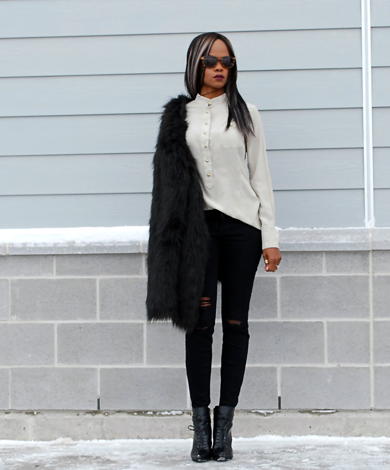 Black faux fur coat, faux fur, black faux fur jacket, ripped denim, distressed denim, current/elliott denim, button up top, button down top, black booties, winnipeg fashion blogger, fashion blogger style, african blogger