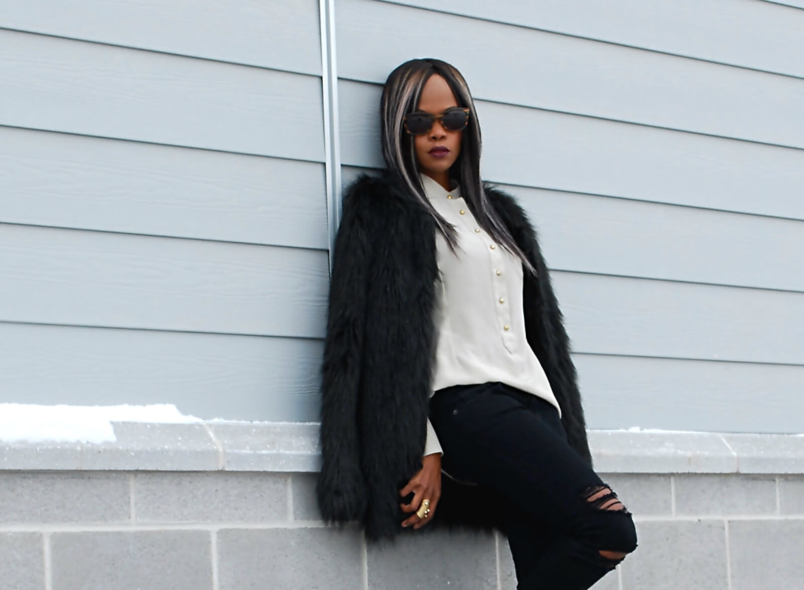 Black faux fur coat, faux fur, black faux fur jacket, black ripped denim, current/elliott denim, button up top, button down top, winnipeg fashion blogger, fashion blogger style, african blogger