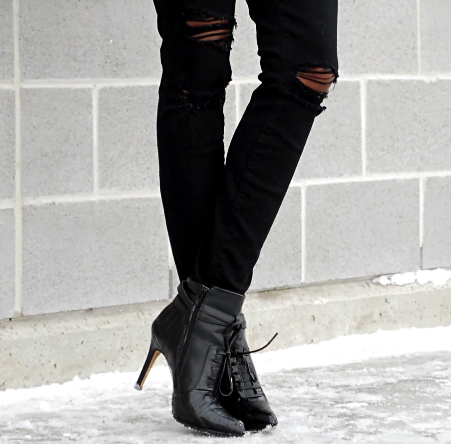 black ripped denim, distressed denim, current/elliott denim, black booties, winnipeg fashion blogger, fashion blogger style, african blogger