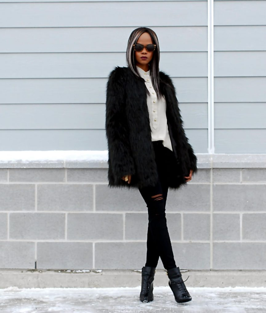 black faux fur coat, black faux jacket, current/elliott ripped denim, black ripped denim, black booties, winnipeg fashion blogger, all black outfit, button up top