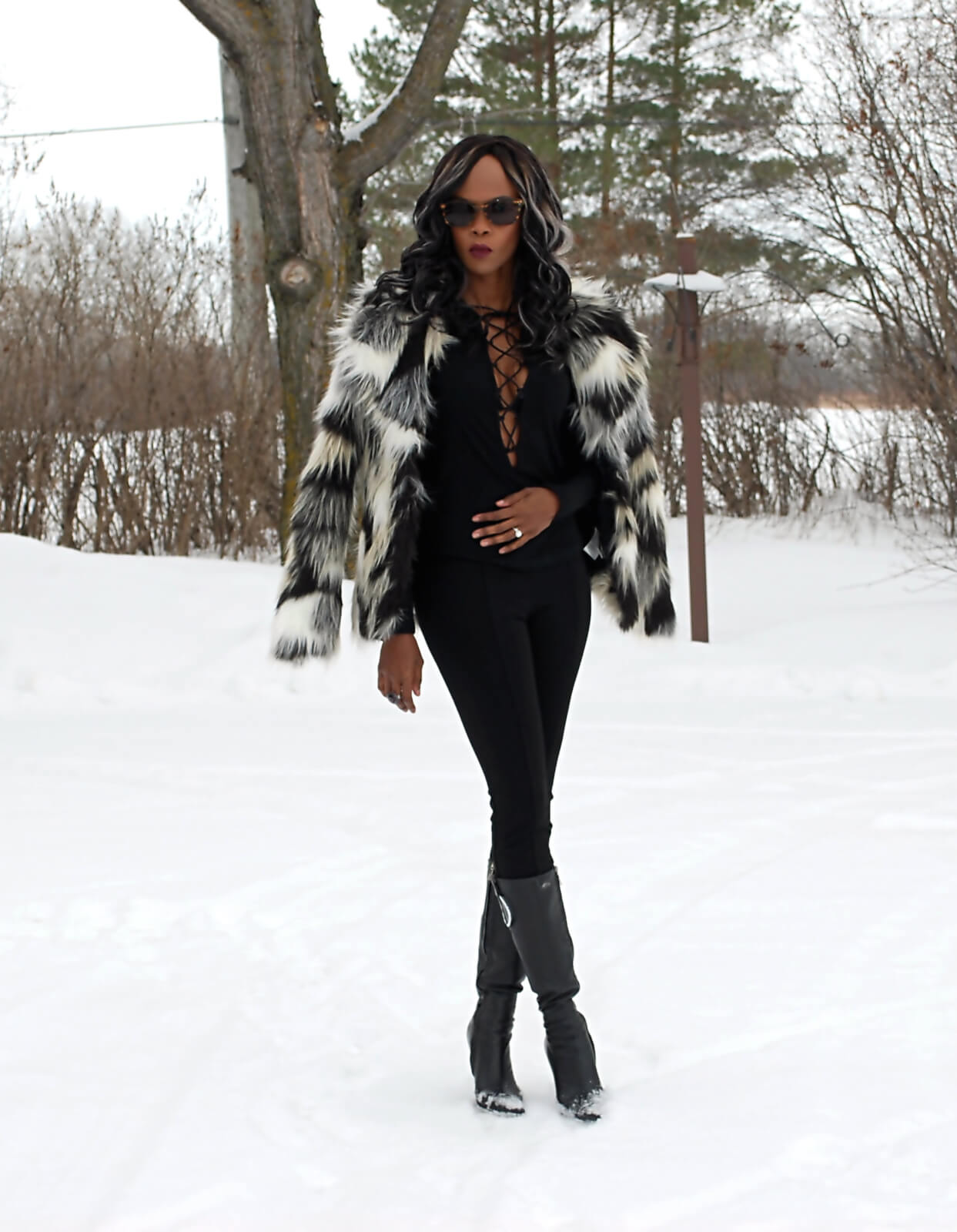 Faux fur coat, Nygard Slims luxe pants, lace up top, winnipeg fashion blogger, Aldo leather black boots, all black outfit, faux fur trend, winter style