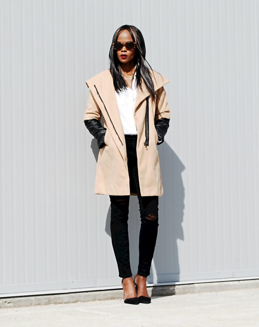 New chic coat, white button down, current/elliott ripped denim, zara heels, black oversized clutch, wool coat, faux leather coat, style my dreams blog, winnipeg fashion blogger