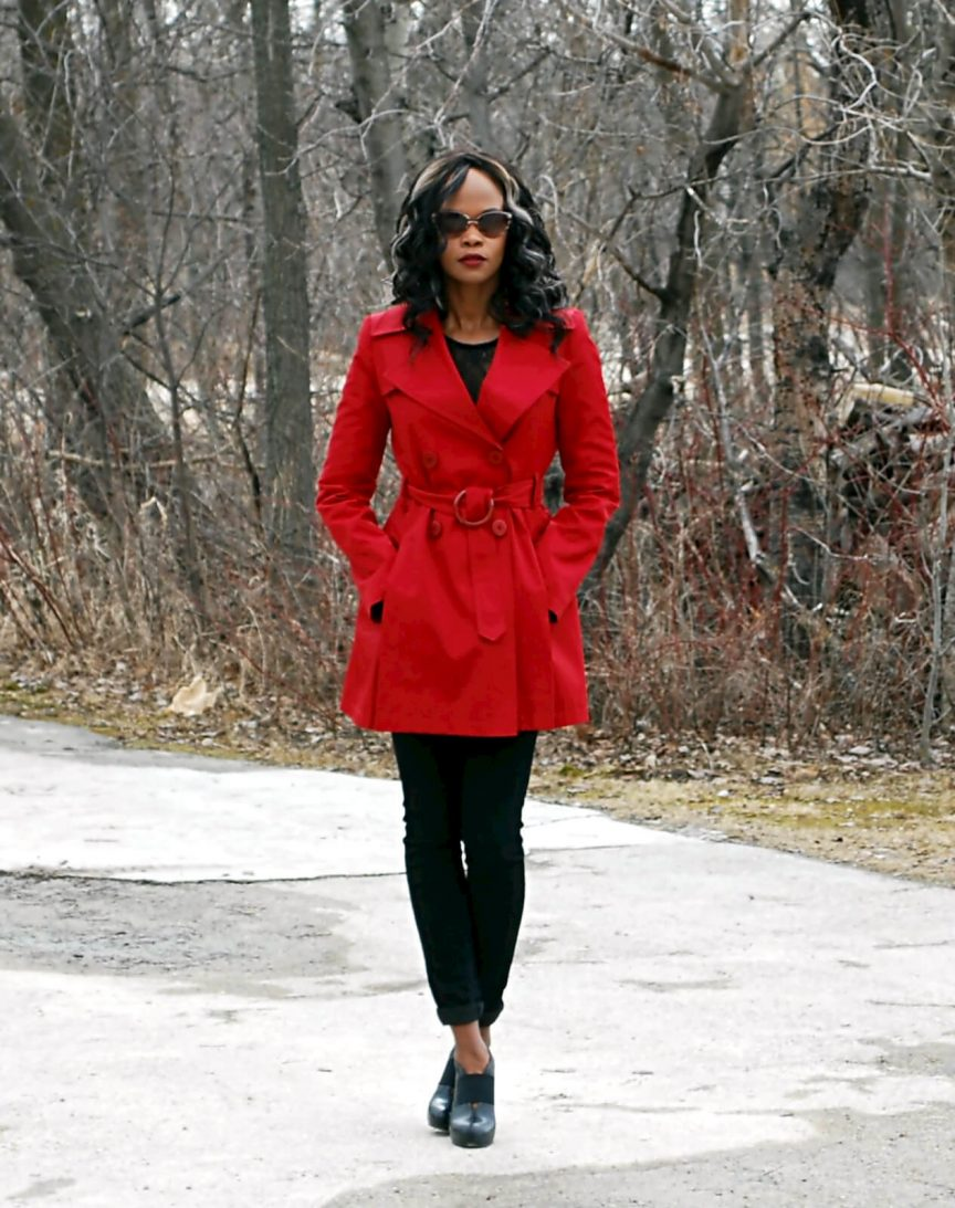 Red trench coat, trench coat, spring trends 2016, black lace bodysuit, bodysuit trend, 7 for all mankind black denim, winnipeg fashion blogger, style my dreams blog
