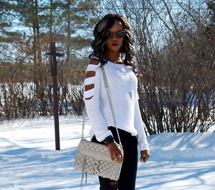 White Sweater, Cold Shoulder top, Cold shoulder sweater, ripped denim, grey Rebecca Minkoff MAC bag, spring trends 2016, Style My Dreams Blog, Winnipeg Fashion Blogger