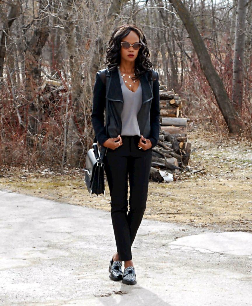 Mixed media jacket, Mackage leather jacket, zara black zipper pants, forever 21 v neck top, Mackage bag, zara platform loafers, spring coat trends 2016, Winnipeg fashion blogger, style my dreams blog