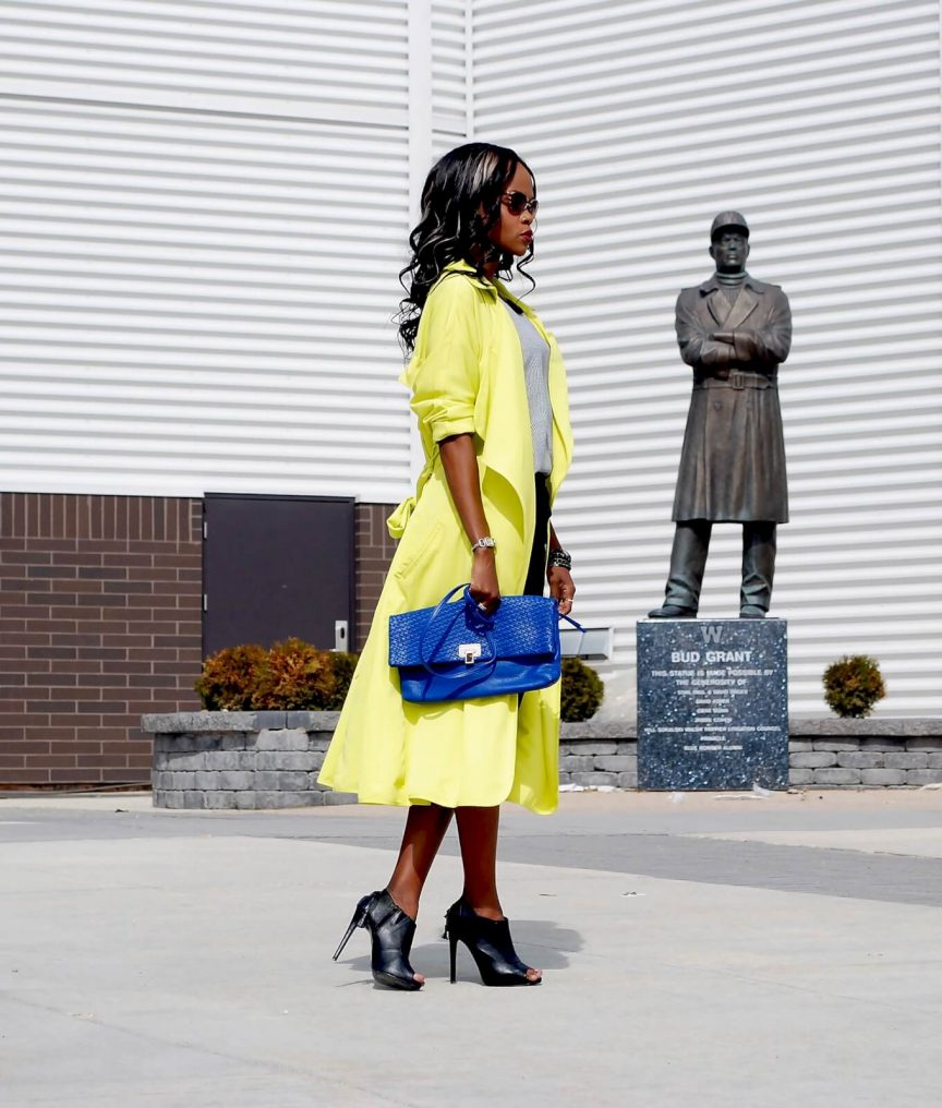 yellow trench coat, shein yellow trench coat, elliott lucca clutch, splendid pants, target top, trench coat trend, winnipeg fashion blogger jackie anderson, style my dreams bog, black ankle booties