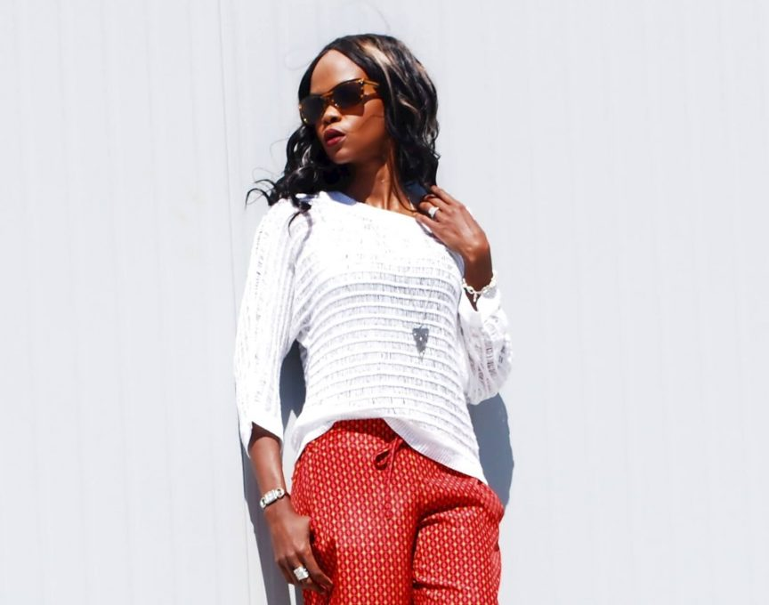 Kenneth cole white sheer sweater, joe fresh red pants, coach heels, spring fashion, printed pant, winnipeg fashion blogger, style my dreams blog,