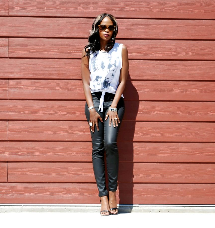 white top with tie up detail, black coated denim, current/elliott denim, black ankle strap heels, Winnipeg fashion blogger, style my dreams blog, spring fashion 2016, casual chic