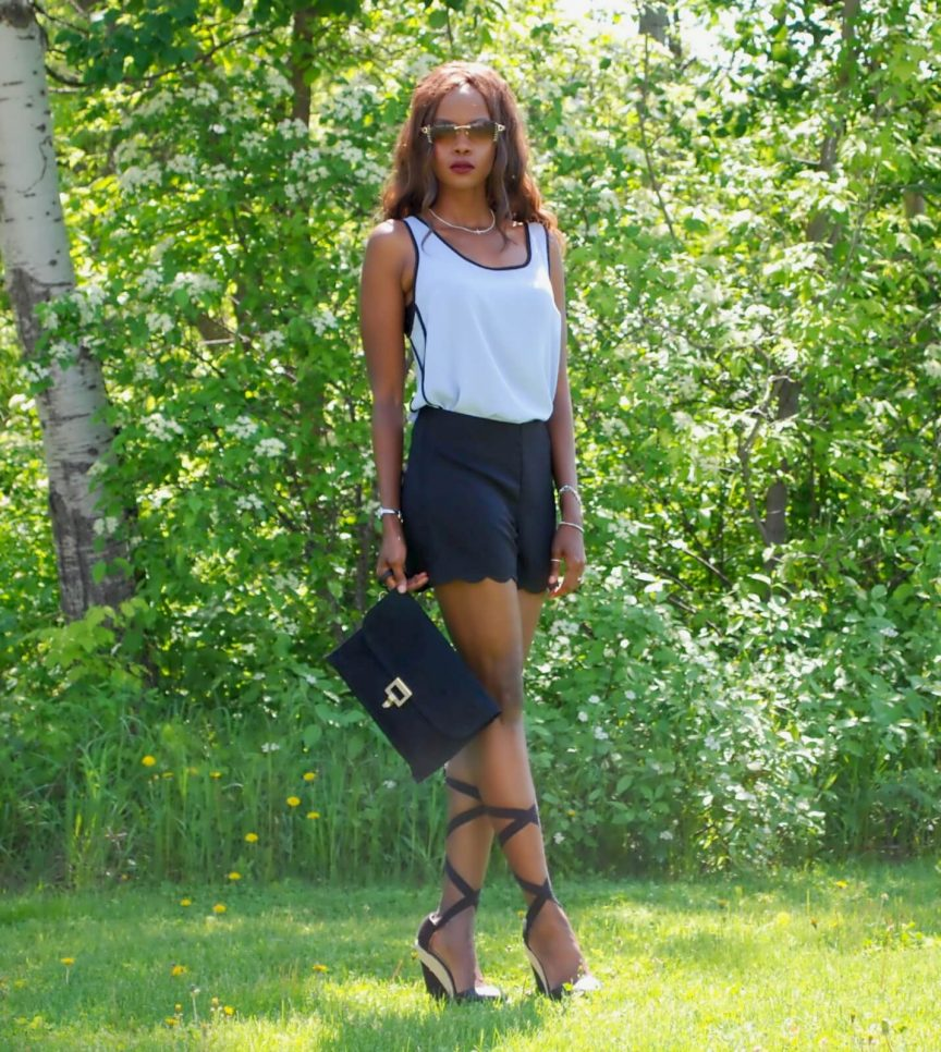 scalloped edge shorts, forever 21 tank top, scalloped hemline trend, lace up wedge sandals, zara lace ups, winnipeg fashion blogger, style my dreams blog, Jackie Anderson,