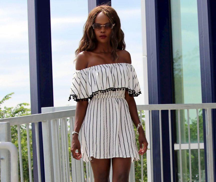 off the shoulder trend, off the shoulder dress, pom pom trend, winnipeg fashion blogger, summer trends,