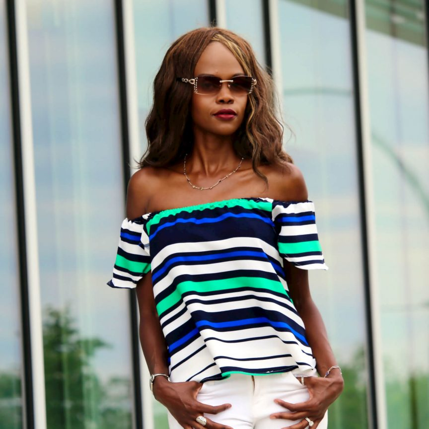 off the shoulder striped top, white denim, frame denim, off the shoulder trend, summer trend, shein off the shoulder striped top