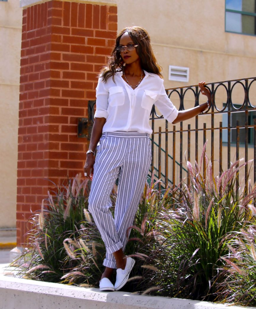 splendid striped pants, james perse, white slip-ons, style my dreams blog, how to wear stripes
