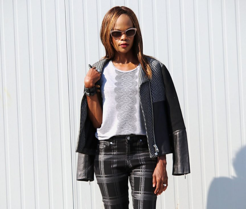 moto jacket, how to wear all black, plaid trend, how to style plaid denim, winnipeg fashion blogger, 7 for all mankind denim