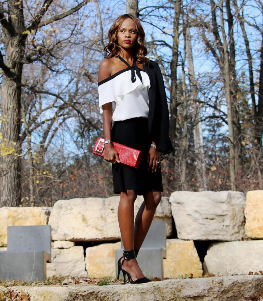 how to wear an off the shoulder top, how to style off the shoulder tops, how to style off the shoulder, red, clutch, black ankle strap heels