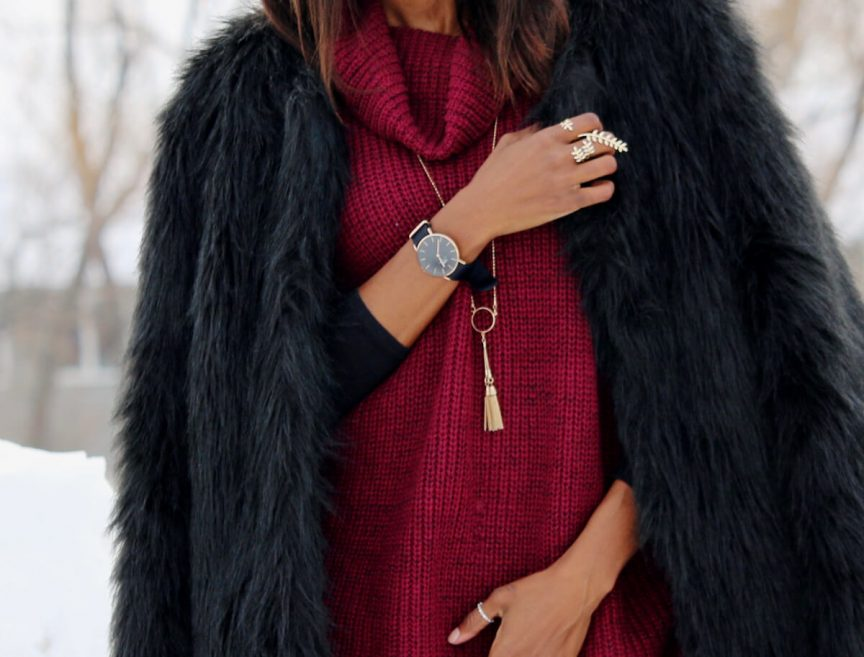 sweater dress, faux fur coat, winter style, style my dreams, winnipeg blogger, over the knee boots, Daniel Wellington watch