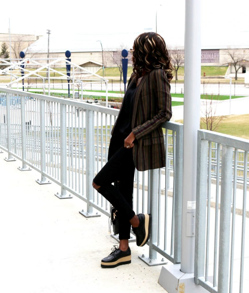Smith blazer; Zaful Platform shoes; Winnipeg fashion blogger; how to style platform shoes, striped blazer; style my dreams; spring shoe trends
