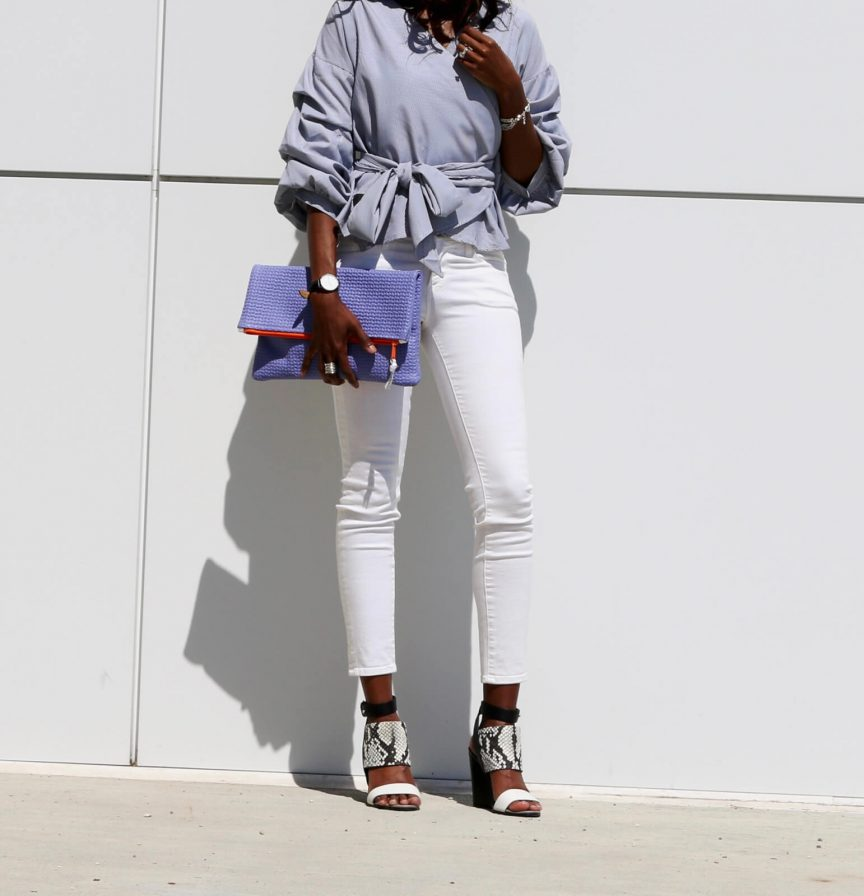 Statement top, statement sleeve top, white denim, vince snakeskin heels, winnipeg fashion blogger, style my dreams, ruffled top