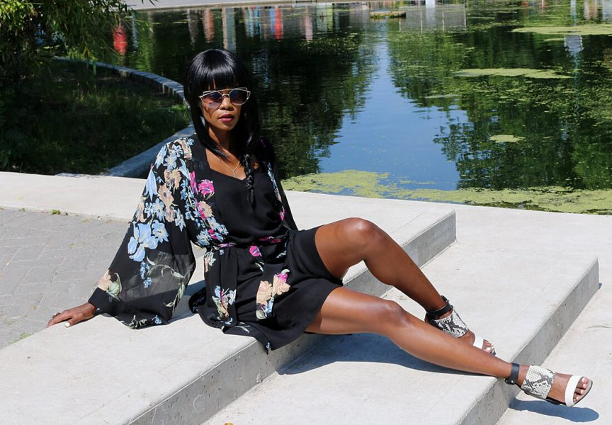 kimono trend, cold shoulder dress, winnipeg fashion blogger, summer fashion, summer trends, how to style a kimono, how to wear black in the summer