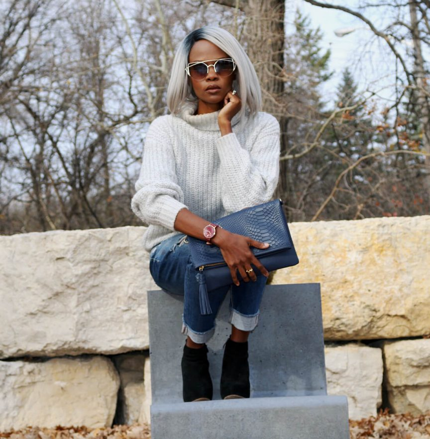 chunky sweater, chunky knit, how to style a chunky sweater, distressed denim, winnipeg blogger, fall fashion