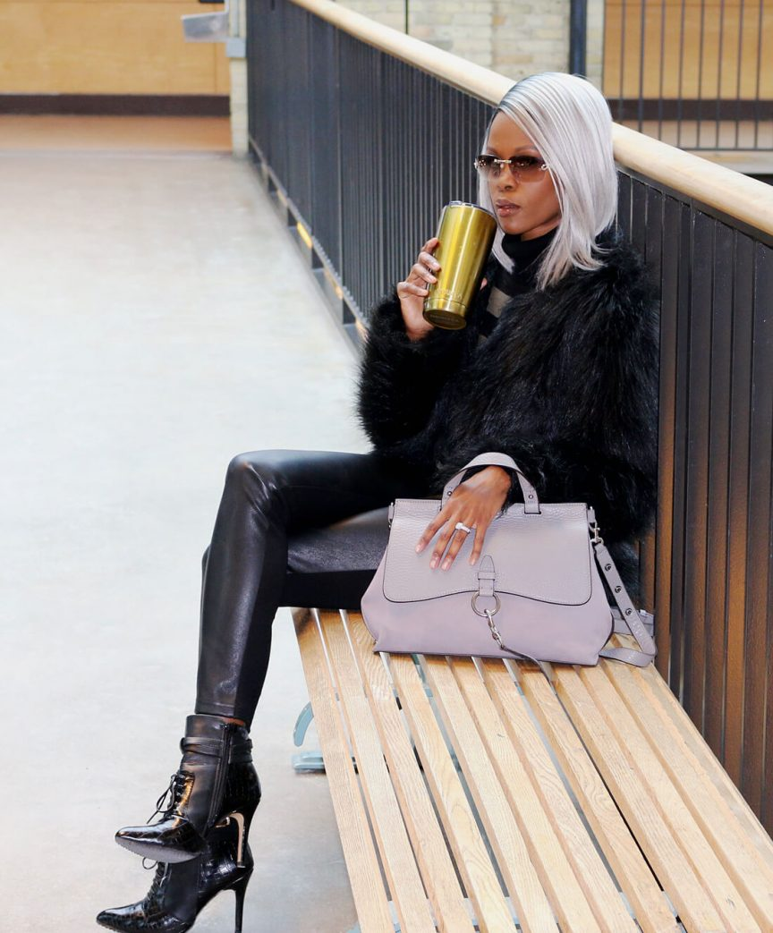 Leather leggings, faux fur jacket, how to style leather leggings, winnipeg fashion blogger, style my dreams
