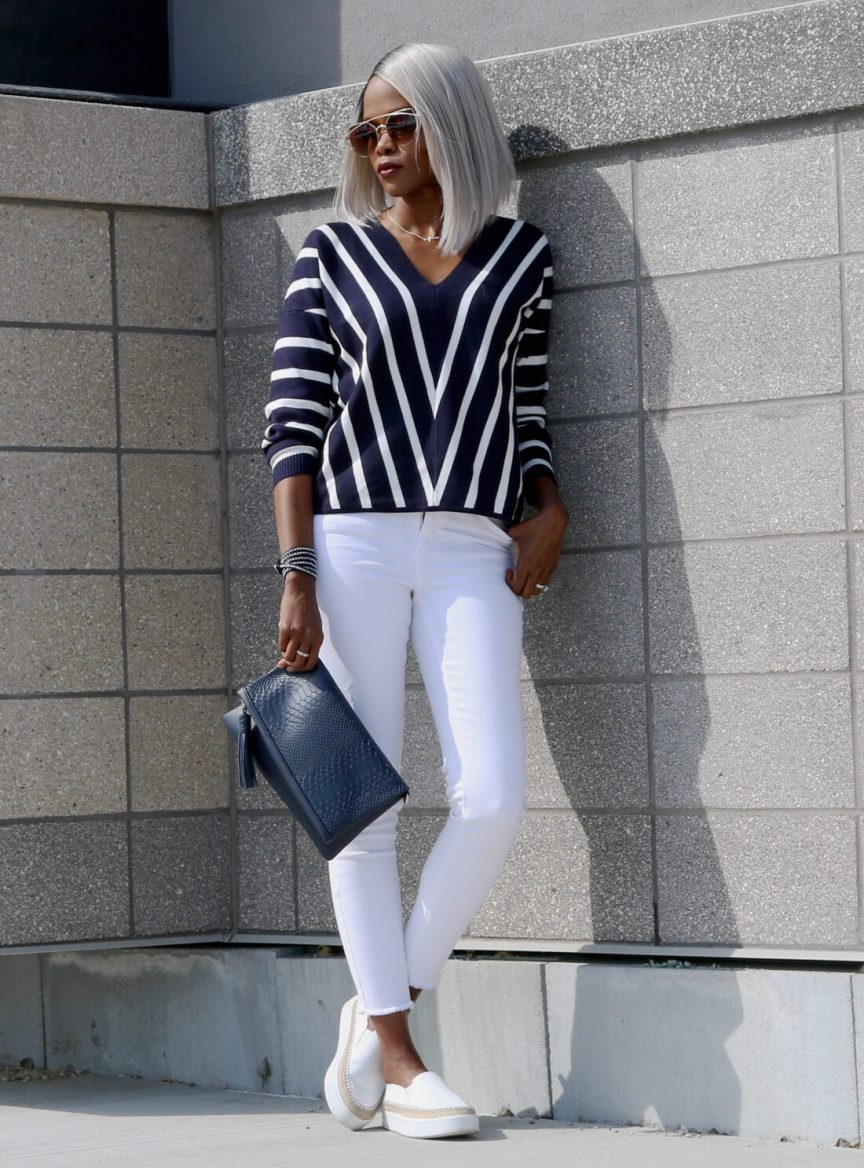 How to wear stripes, stripes, white denim, spring trends, Winnipeg fashion blogger, canadian fashion blogger