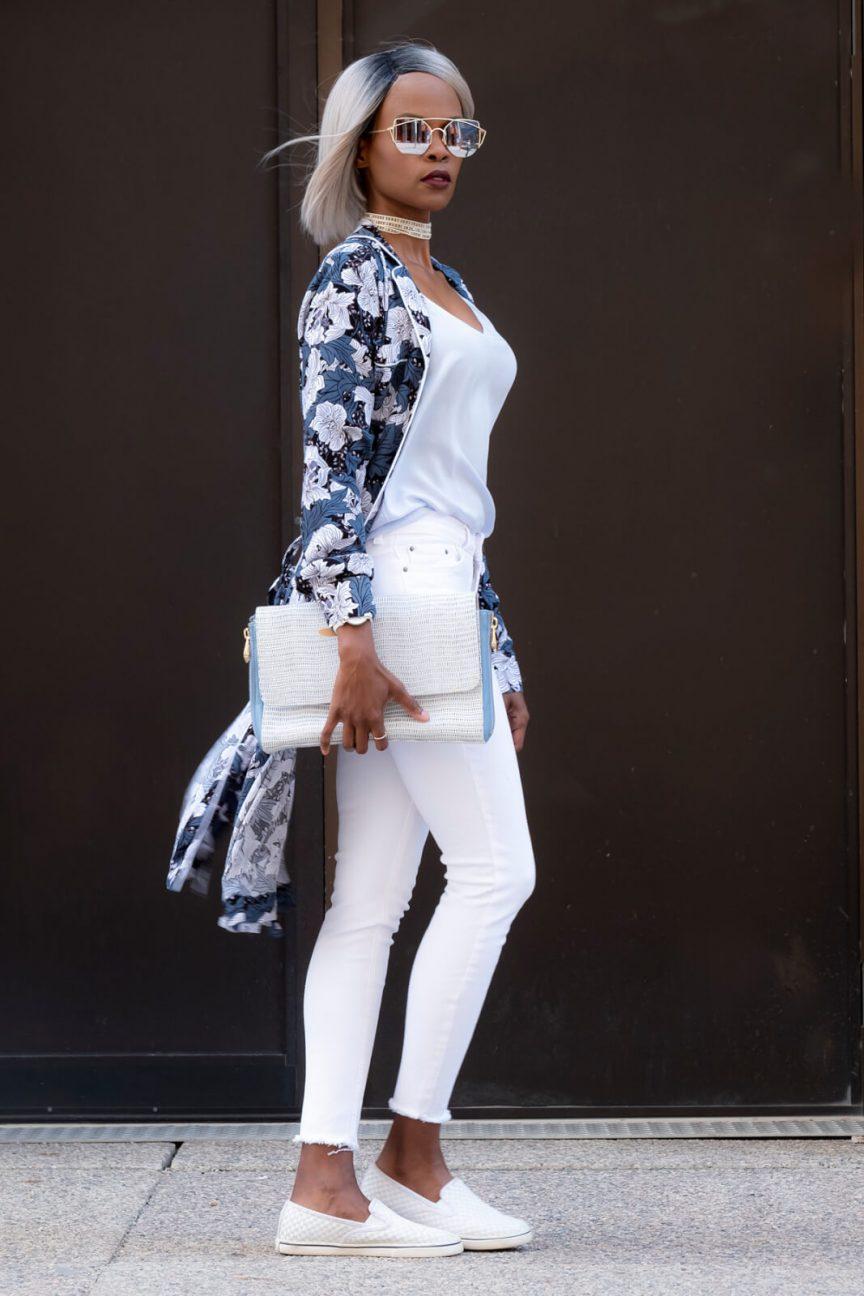 Winnipeg blogger, floral dress, joe fresh floral dress, white denim, summer trends