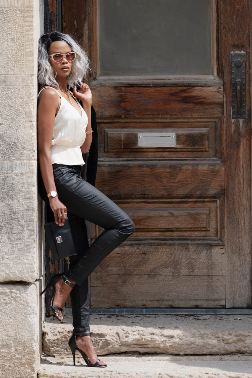 Satin Surplice Cami top, black coated denim, Winnipeg Fashion Blogger, Date night outfits, forever 21 cami top