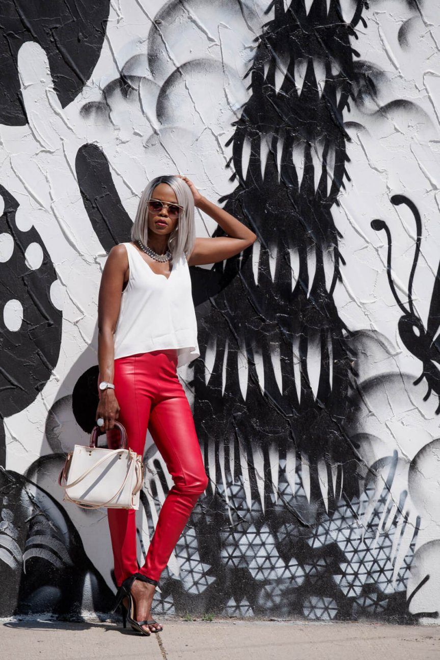 White Aritzia Crop Top, Faux leather pants, leather leggings, summer trends, summer fashion, red pants