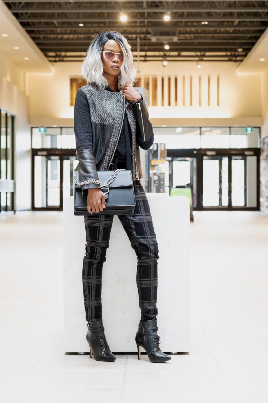 All Black Outfit, Plaid Trend, Moto Jackets, Winnipeg Fashion Blogger, Style My Dreams Blog, How To Wear An All Black Outfits