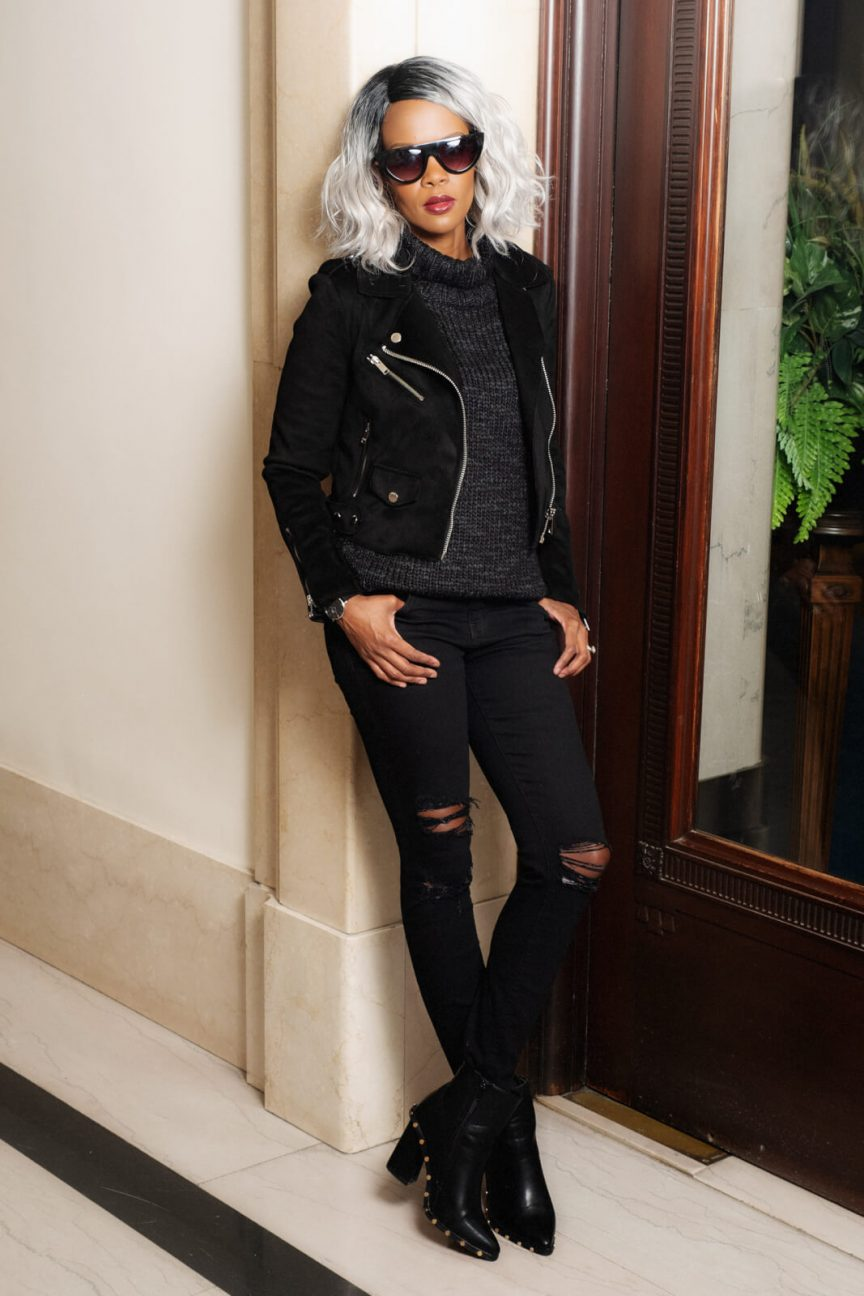 Black Moto Jacket, All black outfit, Winnipeg Fashion Blogger, Distressed Black Denim