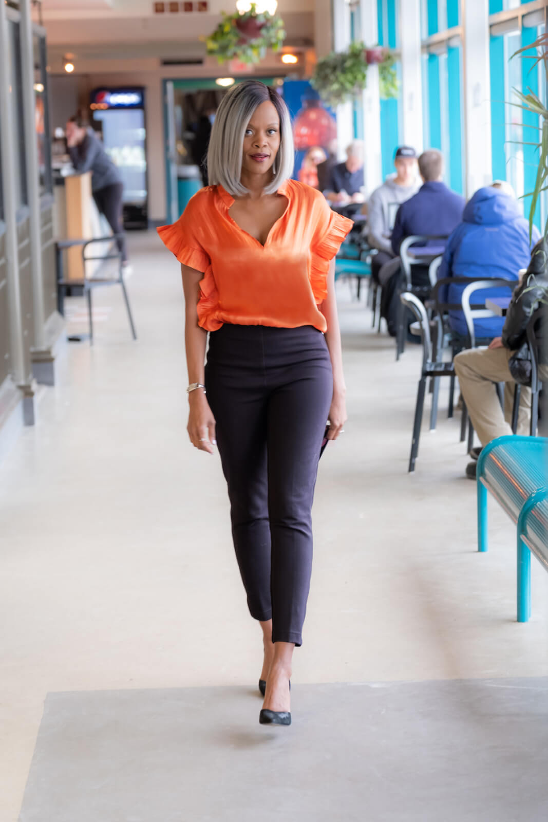 Neon orange top, ruffle top, spring fashion, spring Trends, 90's trend, Winnipeg Fashion Blogger, Style My Dreams