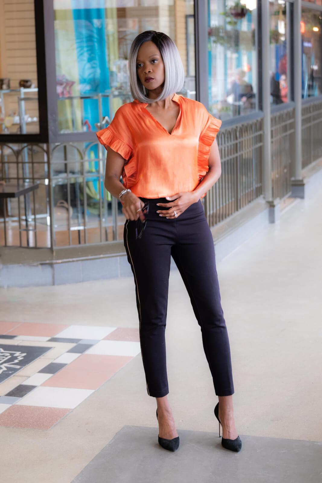 neon orange top, Spring fashion, Neon trend, Winnipeg Fashion blogger, Orange ruffle top