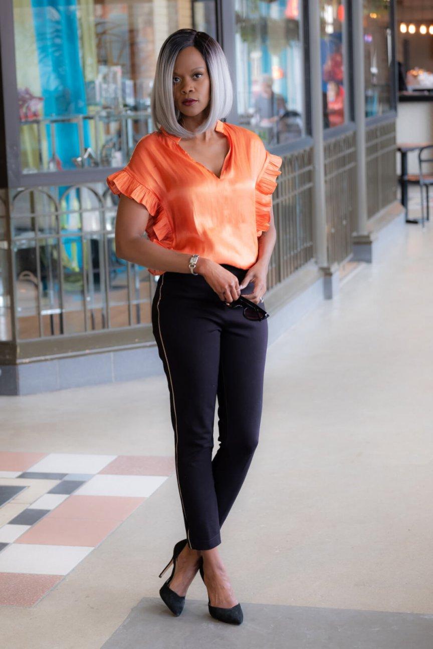 Ruffle top, Spring trends, Winnipeg Fashion Blogger, Metallic trend, Spring Fashion