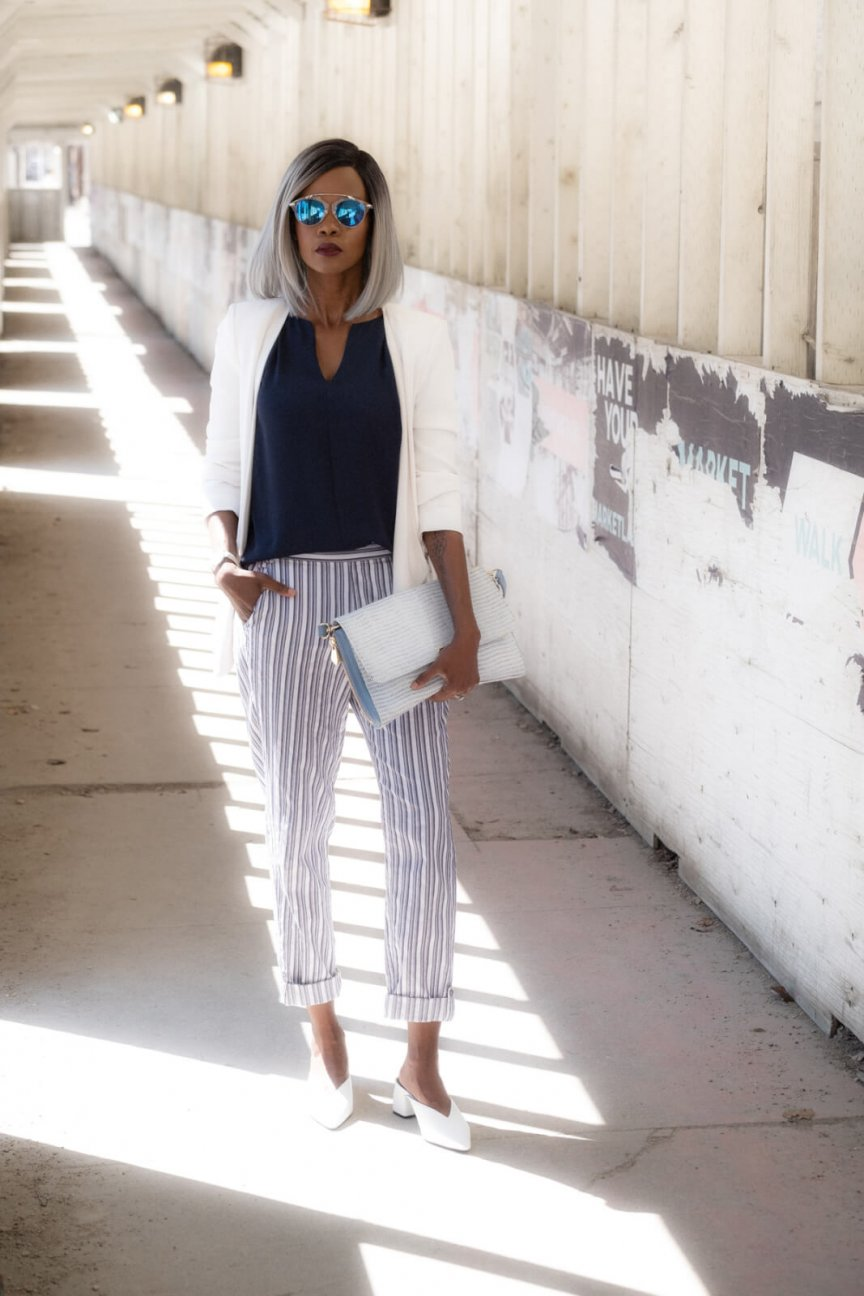 Striped pants, Summer Fashion, White Blazer, Zara White Mules, how to style striped pants
