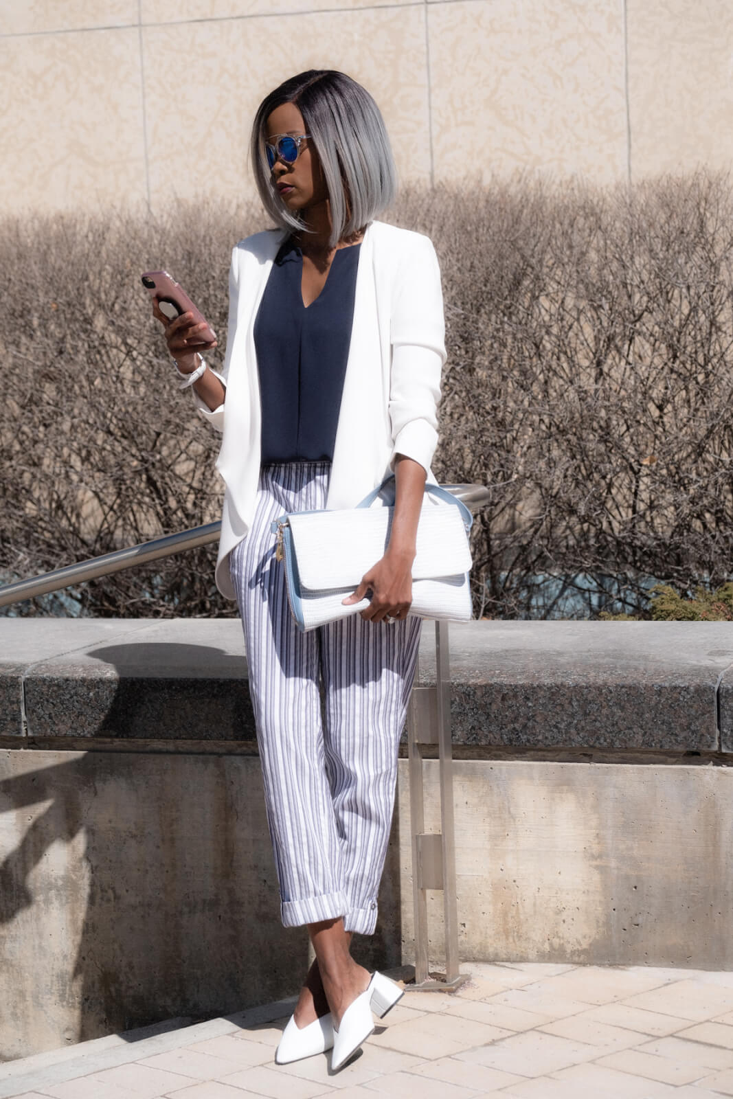 Striped pants, summer fashion, summer trends, white mules, summer outfit ideas