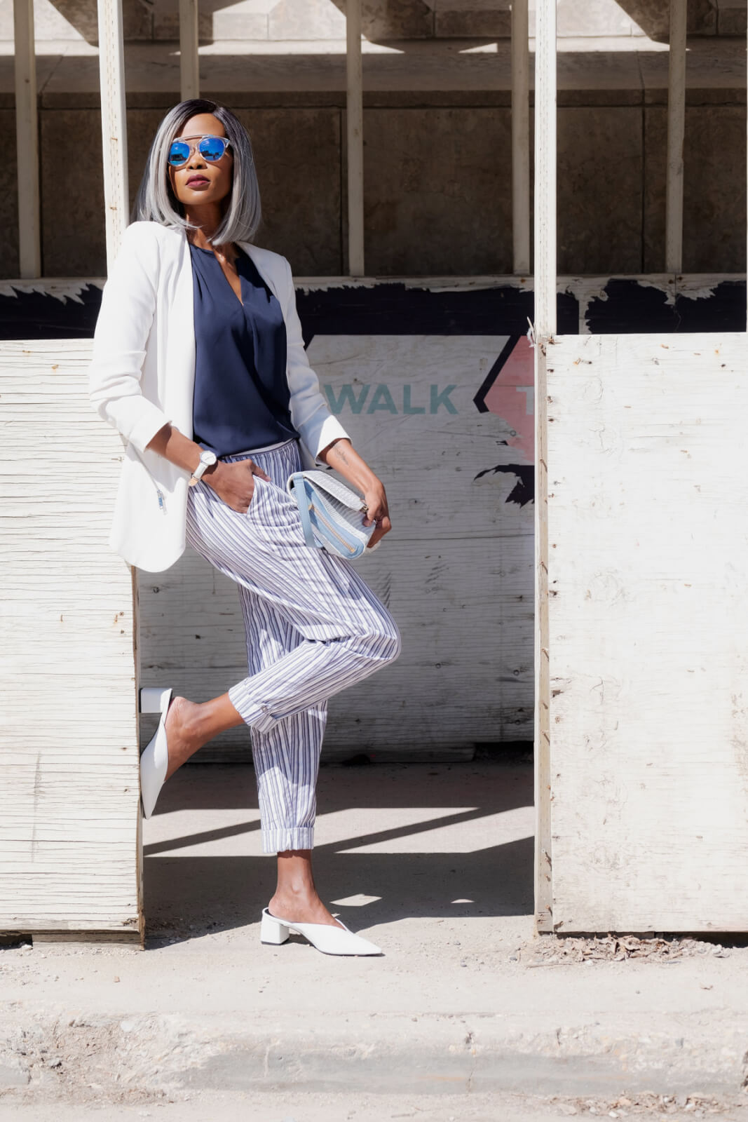 Striped Pants, White Blazer, Summer Fashion, Office Outfit Ideas, How To style printed pants