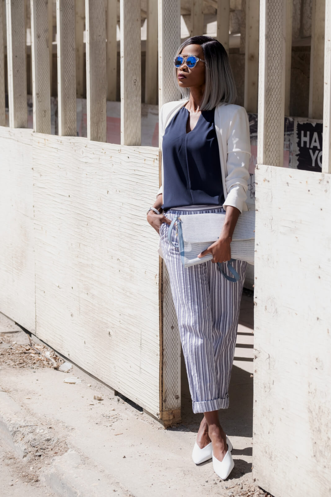 white blazer, summer fashion, striped pants, what to wear, how to style striped pants