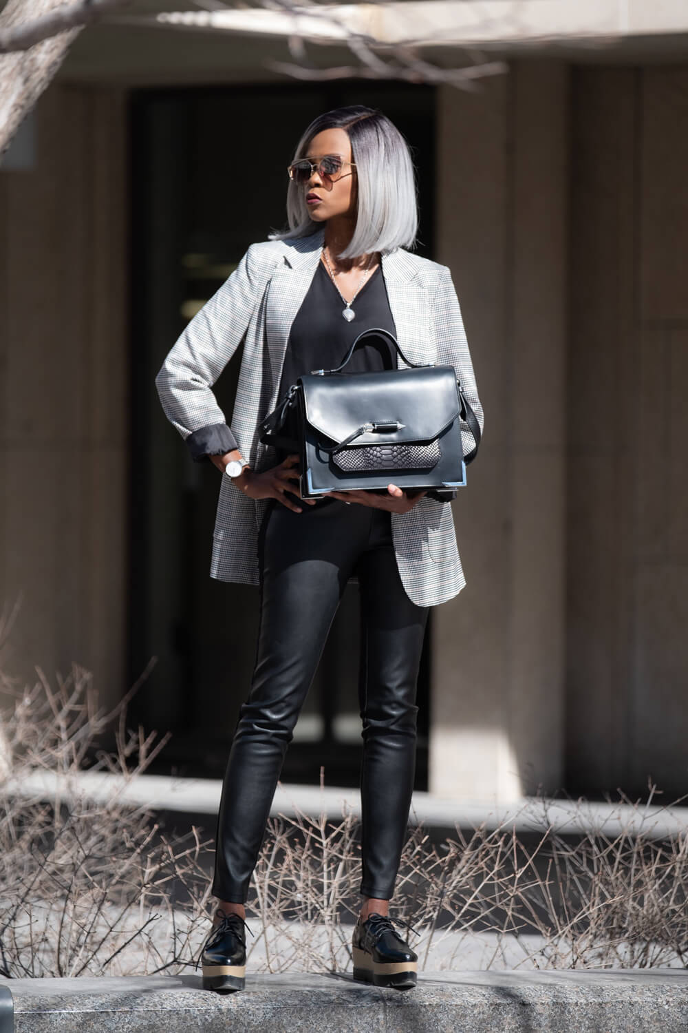 Boyfriend Blazer, Leather Leggings, Mackage Top Handle Satchel, Fall Fashion, Black Platform Oxford,
