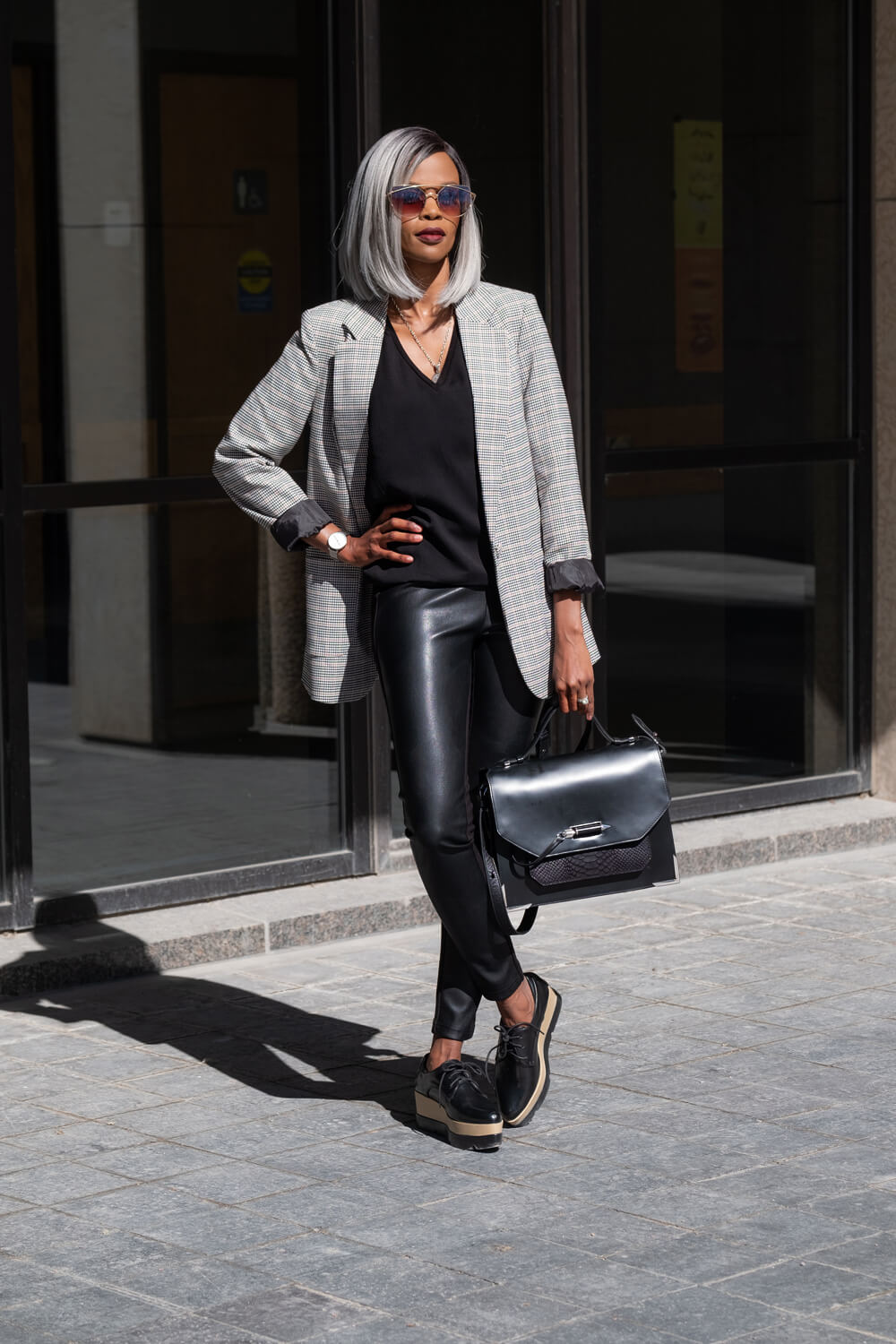 Boyfriend Blazers, Blazers, Office Chic, Leather Leggings, Black Platform Oxford Shoes