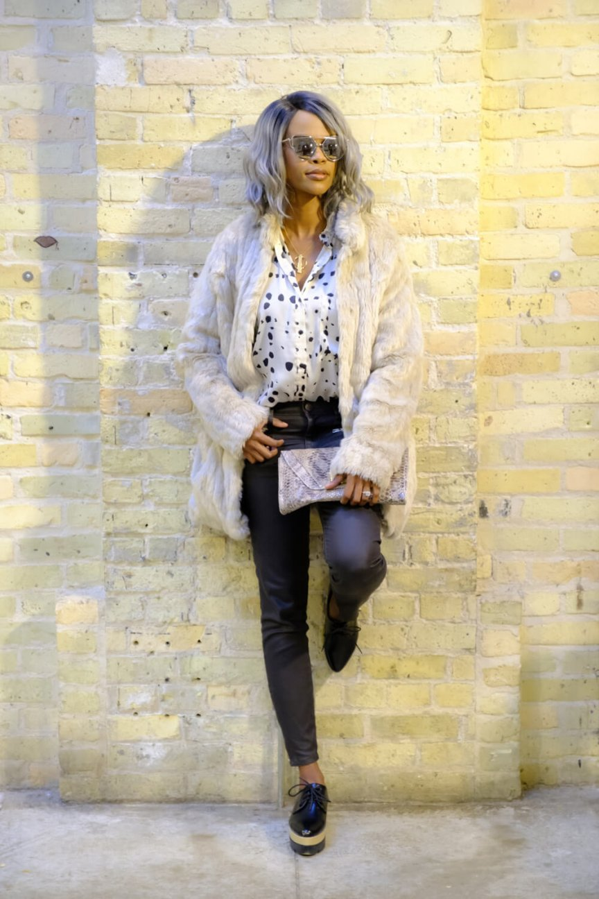 Faux fur Coat, coated denim, winter fashion, how to wear neutrals